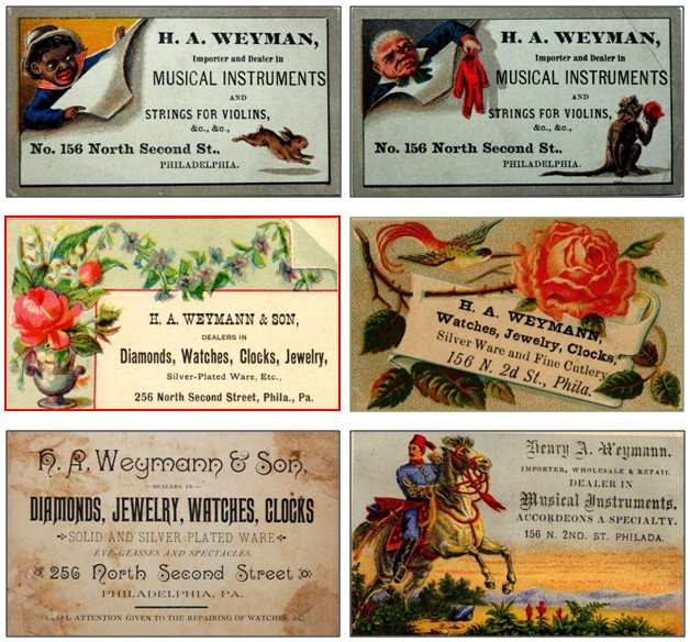 H.A. Weymann business cards