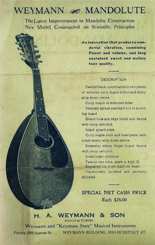 Mandolute Advertisement from 1910 Brochure