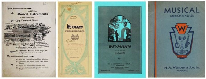 Weymann Instrument Catalogs, from left; c.1890 (retail), 1924, c.1928, c.1931