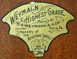 Weymann 'Highest Grade' Label used pre 1910