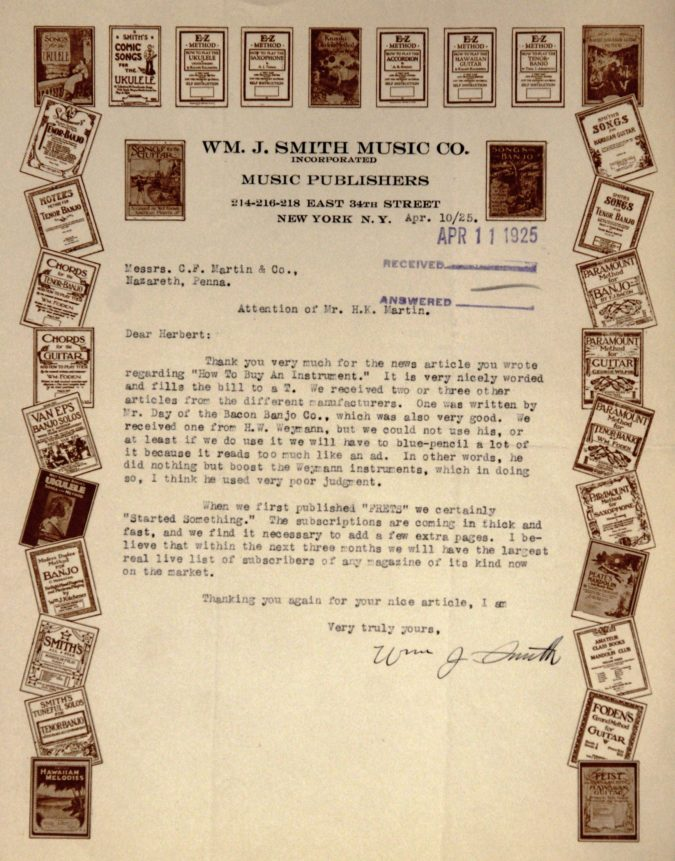 SMITH MUSIC Letter