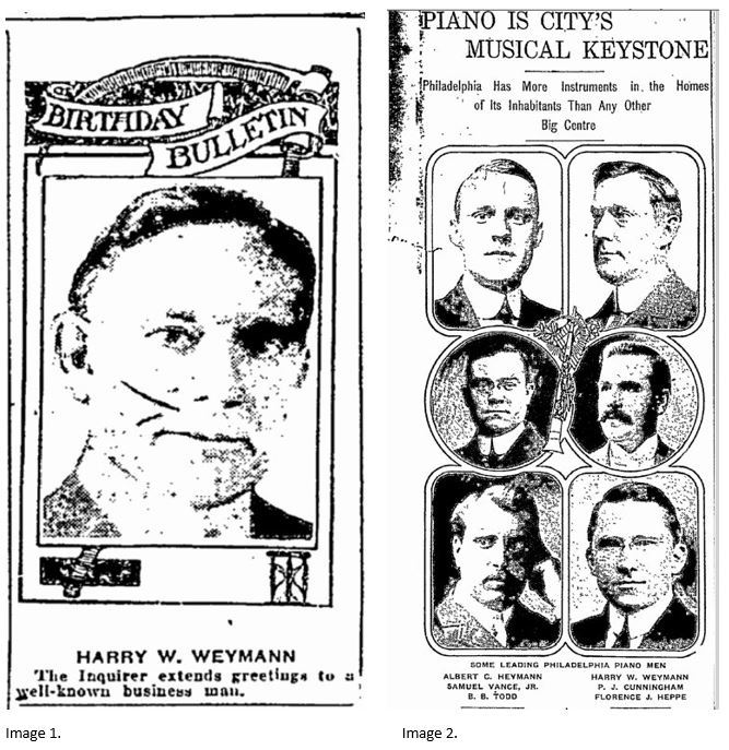 H.W.Weymann portraits Philadelphia Inquirer 1922 and 1913