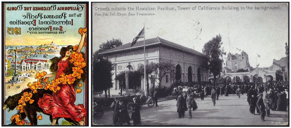 Poster for the 1915 Panama-Pacific Expo Crowds outside the Hawaiian Pavilion